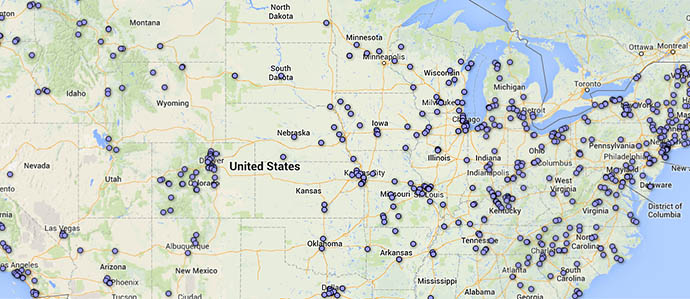 A Map of All 1006 Distilleries in the United States