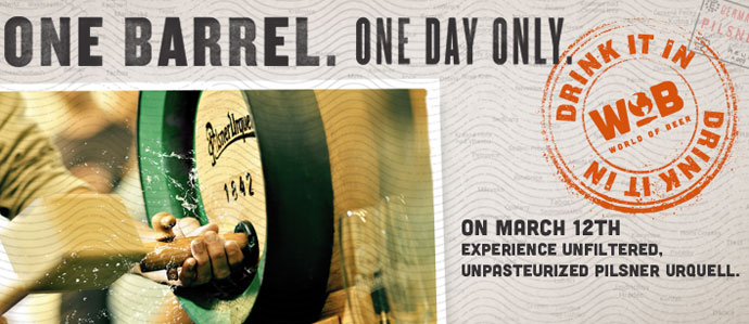 Denver's World of Beer Locations to Tap Fresh Pilsner Urquell, March 12