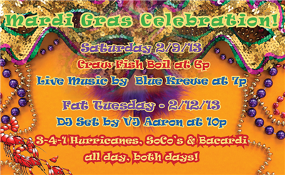 Mardi Gras Celebration at Stoney's Bar and Grill